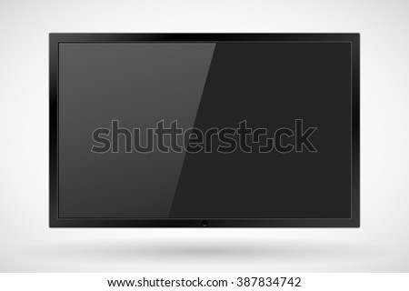 TV, realistic modern flat screen lcd, led, isolated. Vector illustration.  EPS10. - stock vector