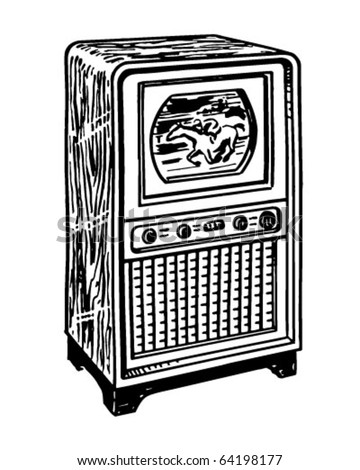 TV 1 - Retro Clipart Illustration - stock vector