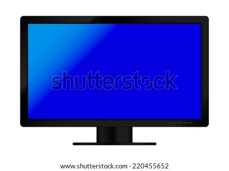 TV screen with blue display - vector drawing isolated