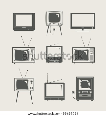 tv set icon new and vintage vector illustration - stock vector