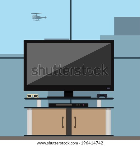 Tv set in the recreation room