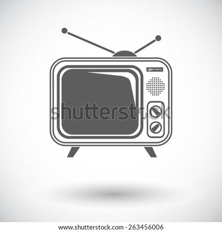 TV single. Single flat icon on white background. Vector illustration. - stock vector