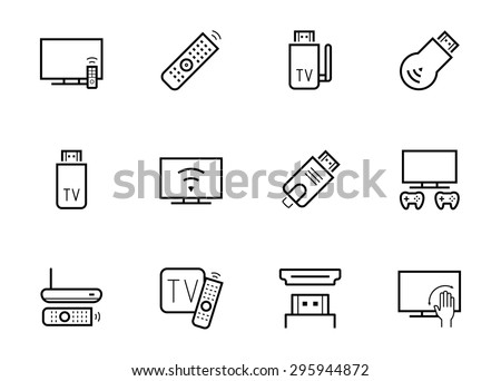 TV stick and box vector icon set in thin line style - stock vector