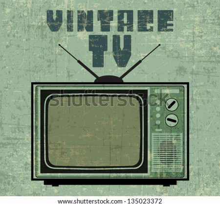 TV TELEVISION IN VINTAGE POSTER STYLE - stock vector