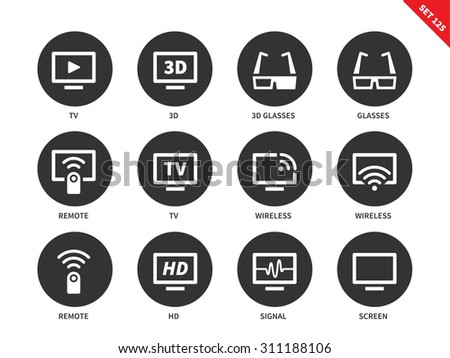 TV vector icons set. Film, movie and entertainment concept, different tv screens and equipment, 3D glasses, remote, HD, wireless, signal, screen. Isolated on white background - stock vector