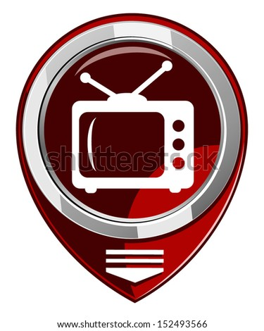 TV vector red map pointer - stock vector