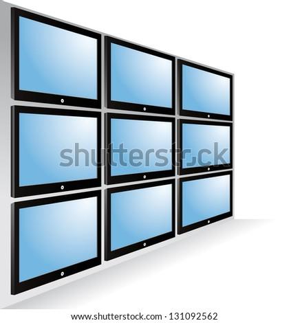 TV wall - stock vector
