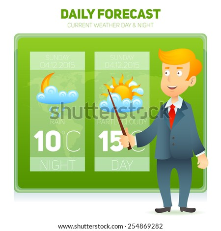 TV weather prediction forecast male news reporter background vector illustration - stock vector