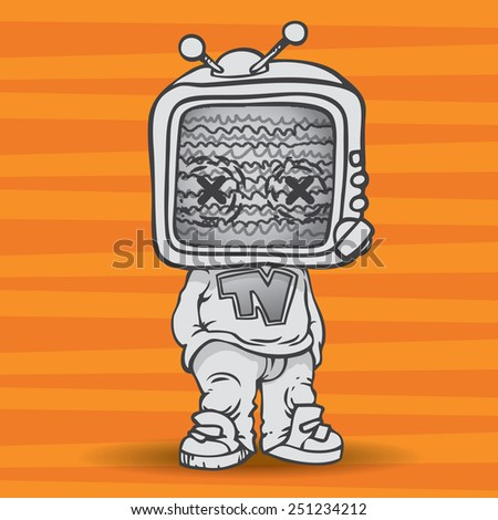 tv zombie. man with a TV for a head. - stock vector