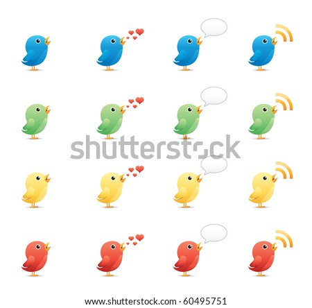 Tweeting Birds icon set 19 - Glossy Series.  Vector EPS 8 format, easy to edit. - stock vector