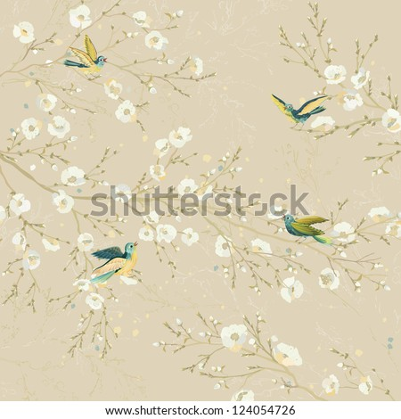 Tweeting birds perching on the branches of flowering trees in the garden - stock vector
