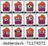 Twelve colorful monster - stock photo