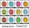 Twelve colorful monsters - stock vector