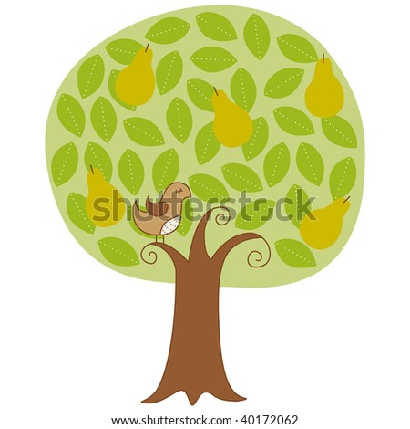 Twelve Days of Christmas Partridge in a Pear Tree Vector Illustration - stock vector