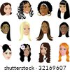 Twelve different women faces of many races ethniciity and cultural backgrounds. Image can be used as a pattern. See more in this series! Vector Illustration. - stock vector