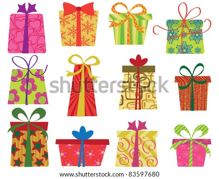 Twelve fun retro gifts set. EPS 8 CMYK with global colors vector illustration. - stock vector