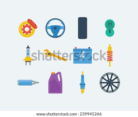 Twelve items of car equipment in a colorful flat vector style - stock vector