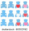 Twelve pink teddy bears with hearts. Nice elements for scrapbook, greeting cards, Valentine's cards etc. - stock vector