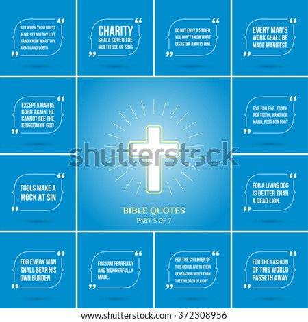 Twelve quotations from the Bible and Christian cross with a halo. Vector illustration on blue background - stock vector