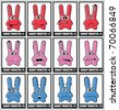 Twelve rabbit monsters - stock vector