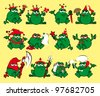 Twelve royalty cartoon frogs. Print for a T-shirt - stock photo