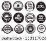 Twelve scalable badges in dark color and vintage style. Premium, high quality guaranteed, free shipping, delivery, discount and authentic labels. - stock vector