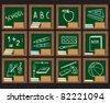 Twelve school related icons.  School related icons on green chalkboard in wooden frame. - stock vector