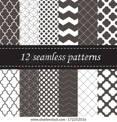 twelve seamless geometric patterns with quatrefoil, chevron and polka dot designs, in dark grey or brown - stock vector