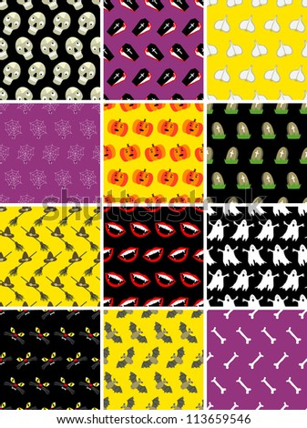 Twelve simple halloween seamless patterns - stock vector