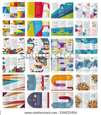 Twelve Trifold Vector  business brochures or magazine covers template. - stock vector