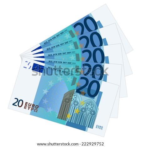 Twenty banknotes on a white background. Vector illustration. - stock vector