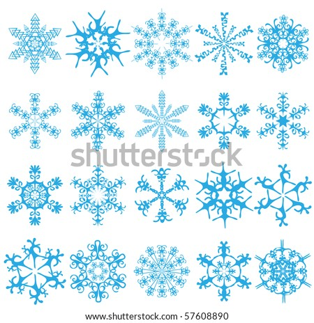 Twenty blue snowflakes on a white background. Vector illustration - stock vector