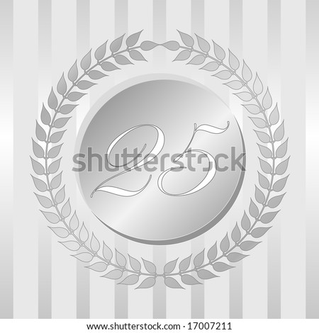 Twenty-fifth anniversary silver seal of branched leaves and numbered medallion on stripe background. - stock vector