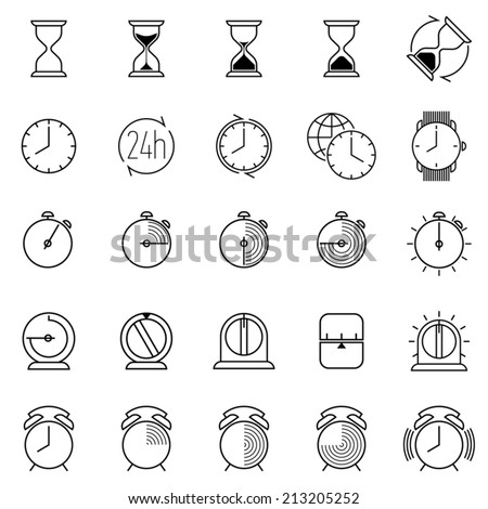 Twenty five different time and clock black icons on white background | Large time icons collection featuring glass hour, alarm clock, countdown timer, watch, world time and more - stock vector