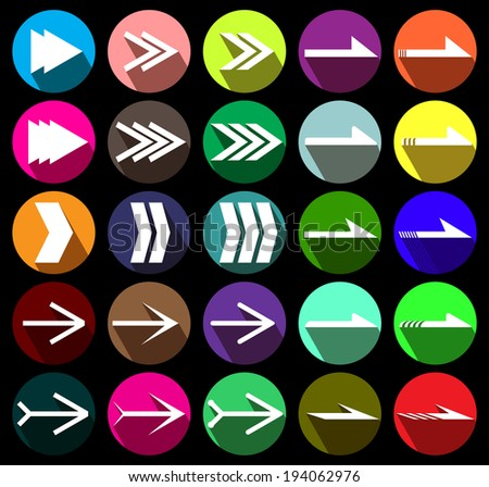 twenty-five direction arrow icon set with long shadow. vector / illustration