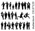 twenty-five high quality vector silhouette of business people - stock vector