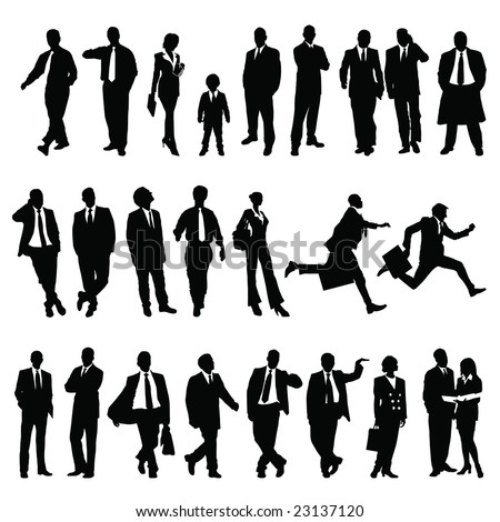 twenty-five high quality vector silhouette of business people