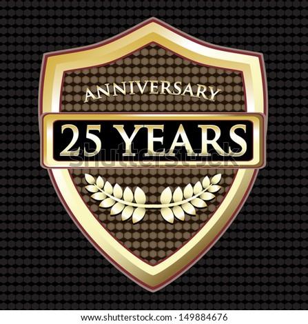 Twenty Five Years Anniversary Golden Shield - stock vector