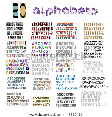 Twenty fonts, numbers and punctuation mark.  Big Vector set