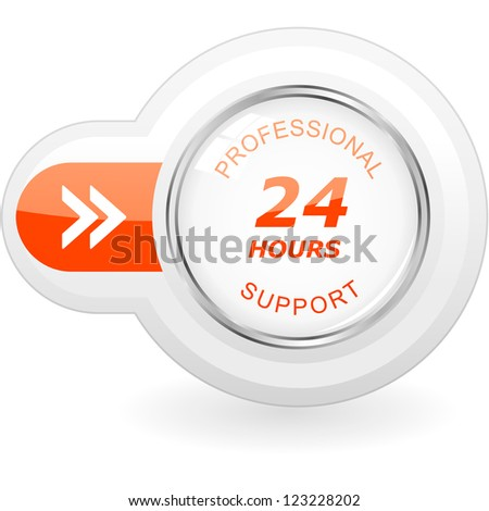 Twenty four hour support. Vector icon. - stock vector