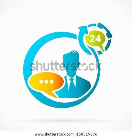 Twenty four hours chat support vector illustration  - stock vector