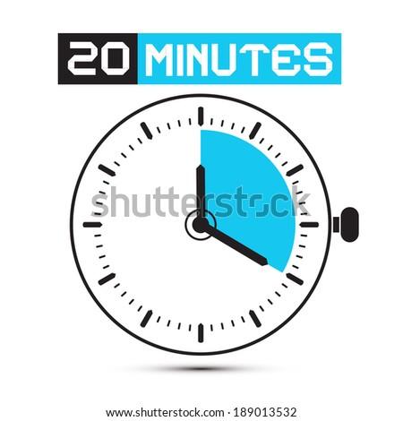 Twenty Minutes Stop Watch - Clock Vector Illustration - stock vector