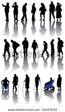 Twenty old and disabled people silhouettes. Vector illustration on white background. - stock vector
