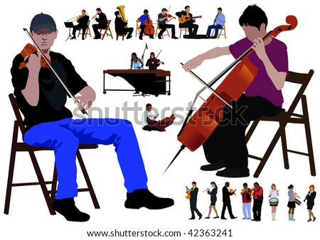 Twenty performing musicians. Separated poses over white background. Color vector illustration. - stock vector