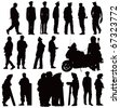 Twenty policeman black silhouettes. Vector illustration on white background - stock photo