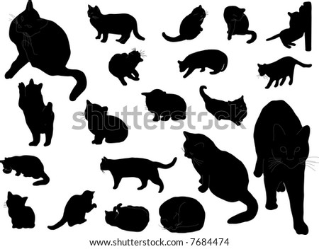 Twenty silhouettes of the cats