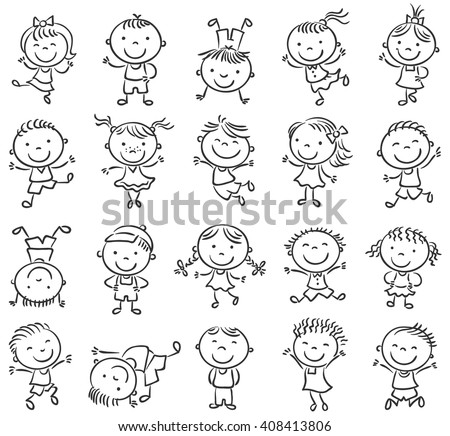 Twenty sketchy happy kids jumping with joy, black and white outline - stock vector