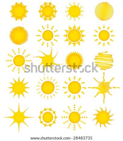 Twenty summer suns vector collection - stock vector