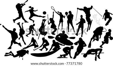 Twenty two sports silhouettes - stock vector