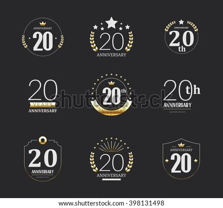 Twenty Years Anniversary Celebration Logotype 20th Stock Vector Hd